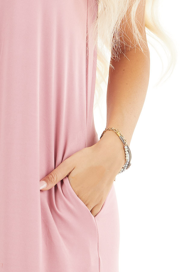 Dusty Blush Sleeveless Jersey Maxi Dress with Side Slits detail