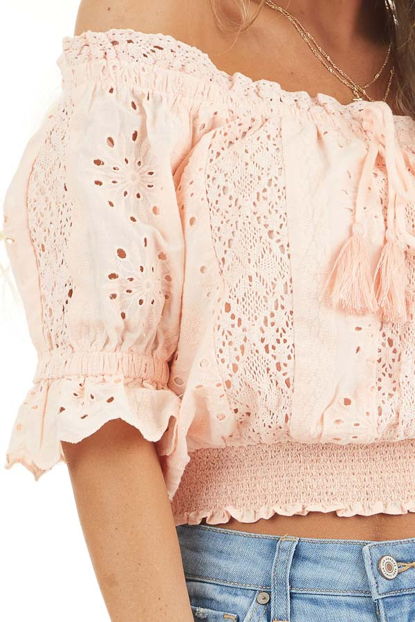 Peach Off the Shoulder Smocked Crochet Top with Tassel Ties detail