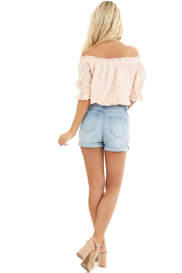 Peach Off the Shoulder Smocked Crochet Top with Tassel Ties back full body