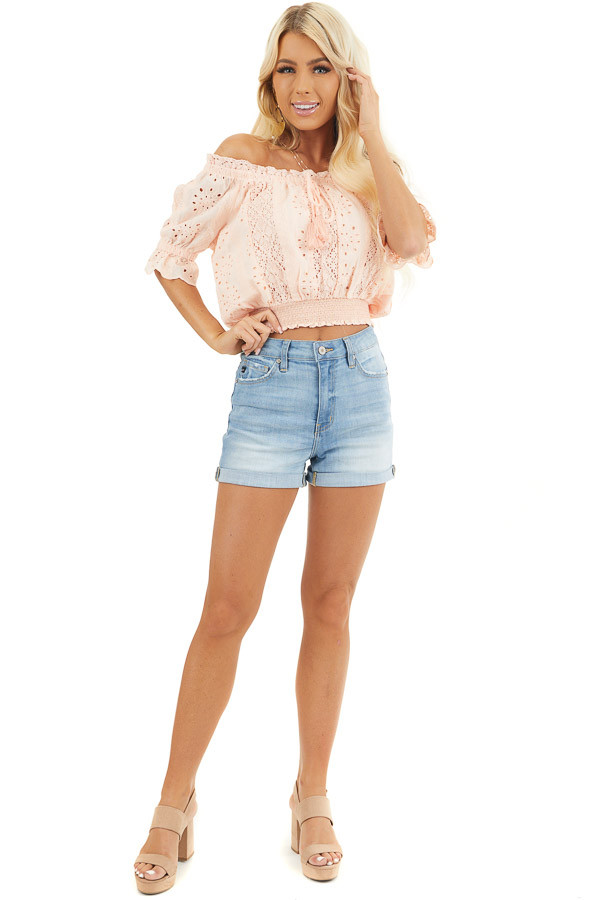 Peach Off the Shoulder Smocked Crochet Top with Tassel Ties front full body