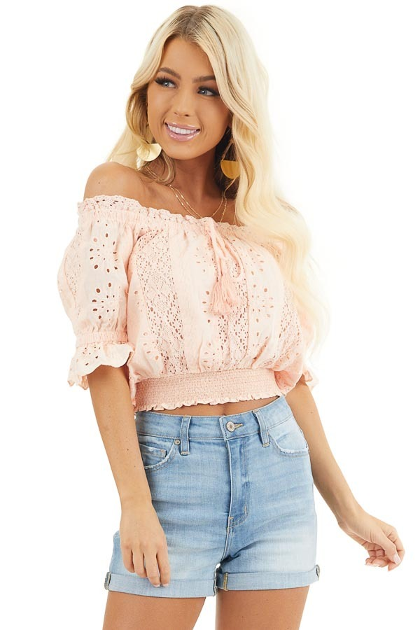 Peach Off the Shoulder Smocked Crochet Top with Tassel Ties front close up