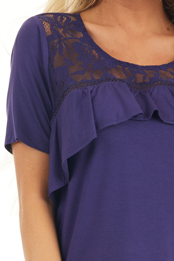 Navy Blue Short Sleeve Top with Lace and Ruffle Details detail