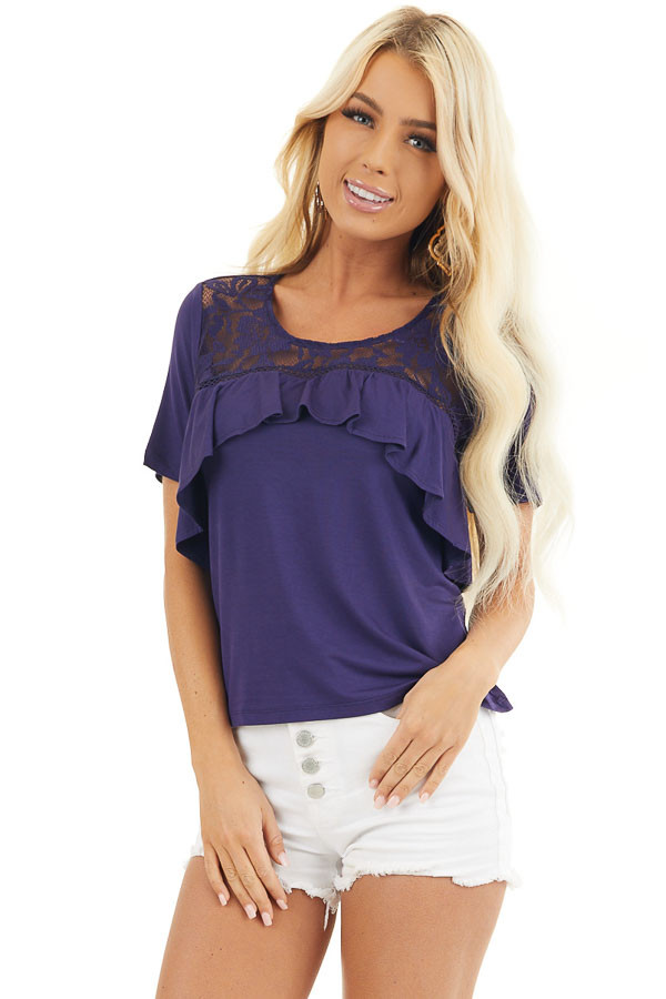 Navy Blue Short Sleeve Top with Lace and Ruffle Details front close up