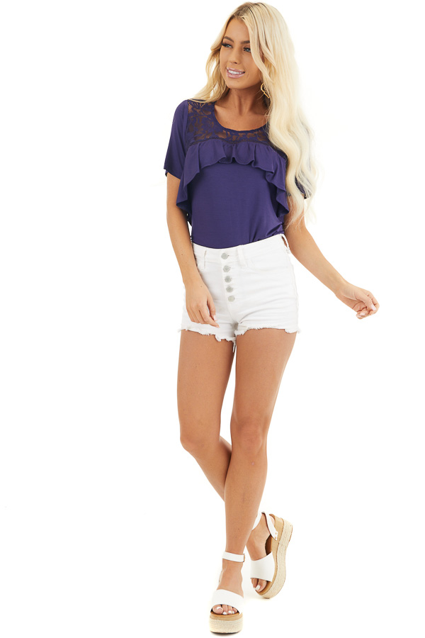 Navy Blue Short Sleeve Top with Lace and Ruffle Details front full body