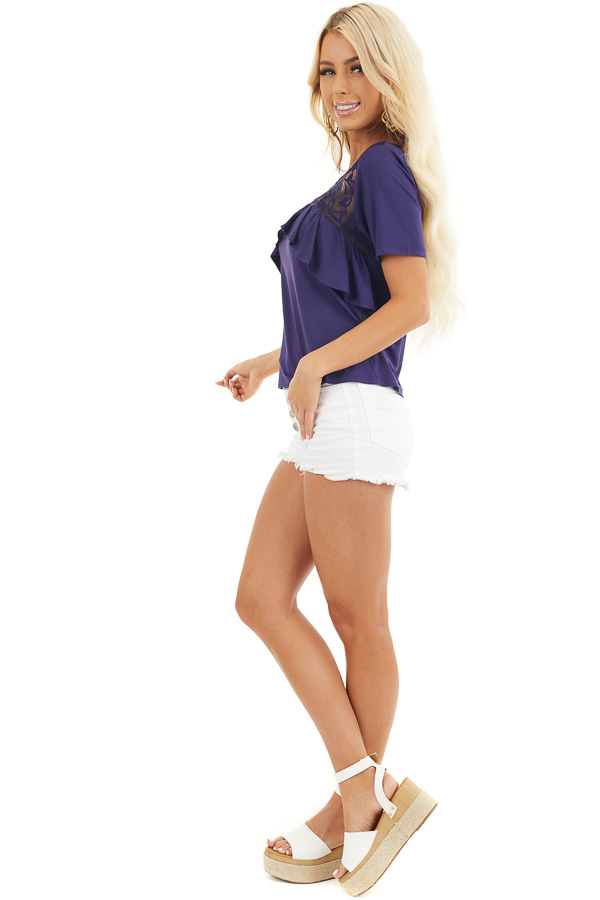 Navy Blue Short Sleeve Top with Lace and Ruffle Details side full body