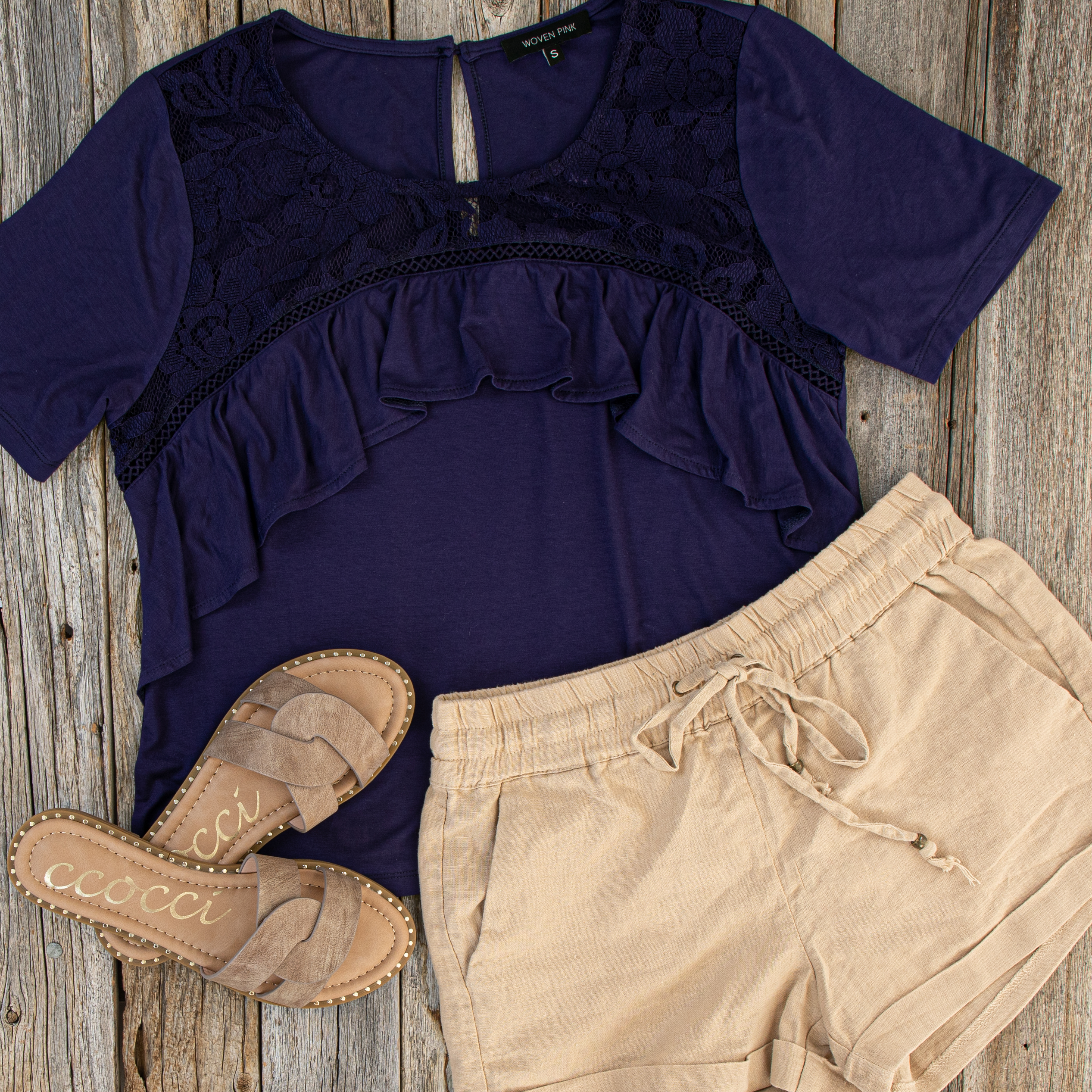 Navy Blue Short Sleeve Top with Lace and Ruffle Details