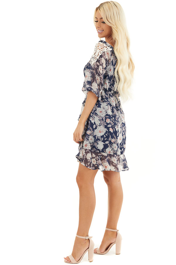 Navy Floral Off the Shoulder Dress with Crochet Lace Details side full body