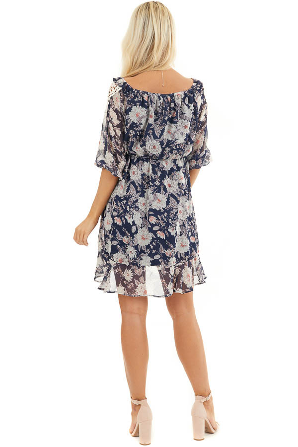 Navy Floral Off the Shoulder Dress with Crochet Lace Details back full body