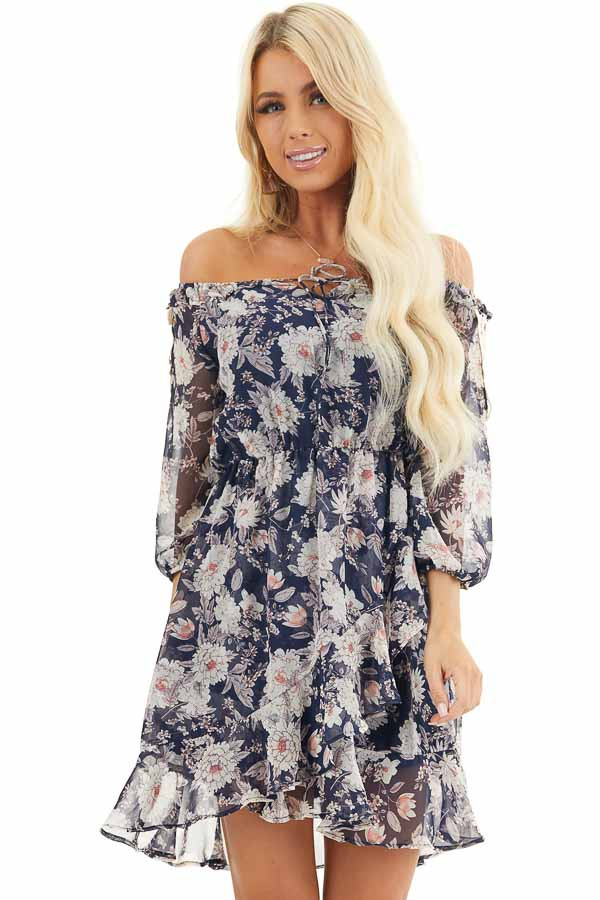 Navy Floral Off the Shoulder Dress with Crochet Lace Details front close up