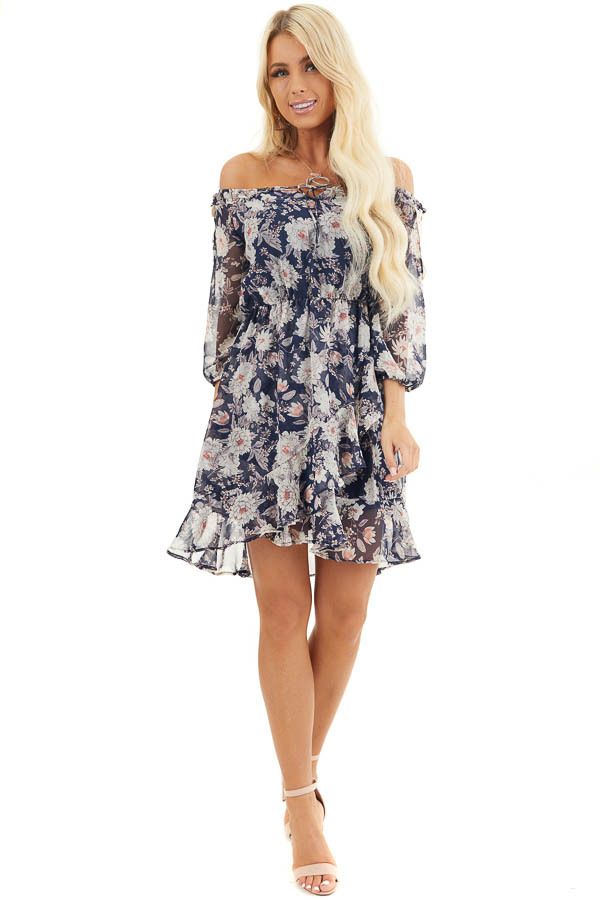 Navy Floral Off the Shoulder Dress with Crochet Lace Details front full body