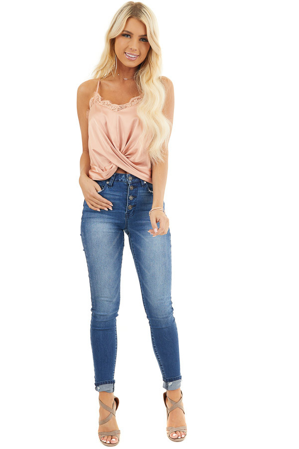 Peach Sleeveless Woven Top with Twist Front and Lace Details front full body