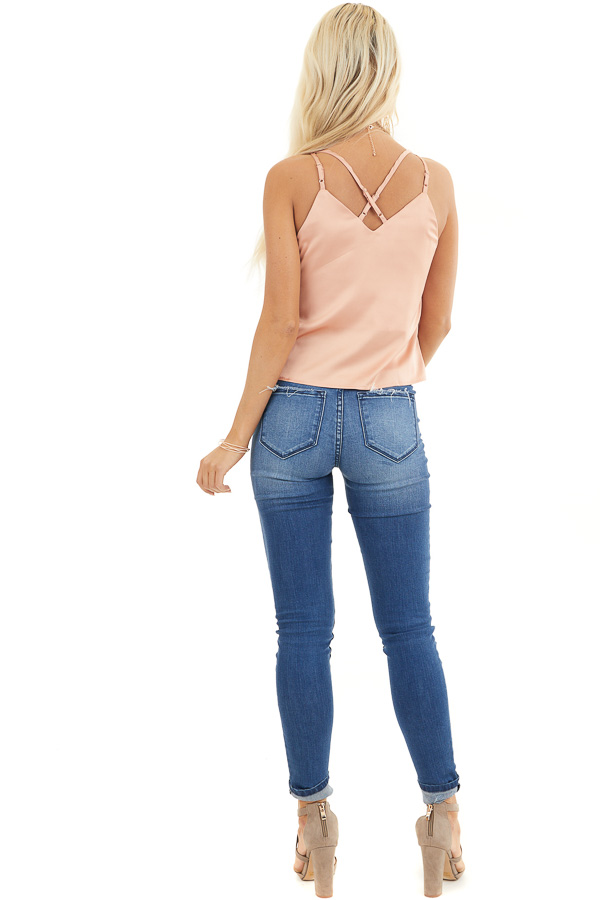 Peach Sleeveless Woven Top with Twist Front and Lace Details back full body