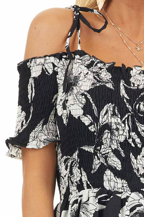 Black and White Floral Smocked Mini Dress with Strap Details detail