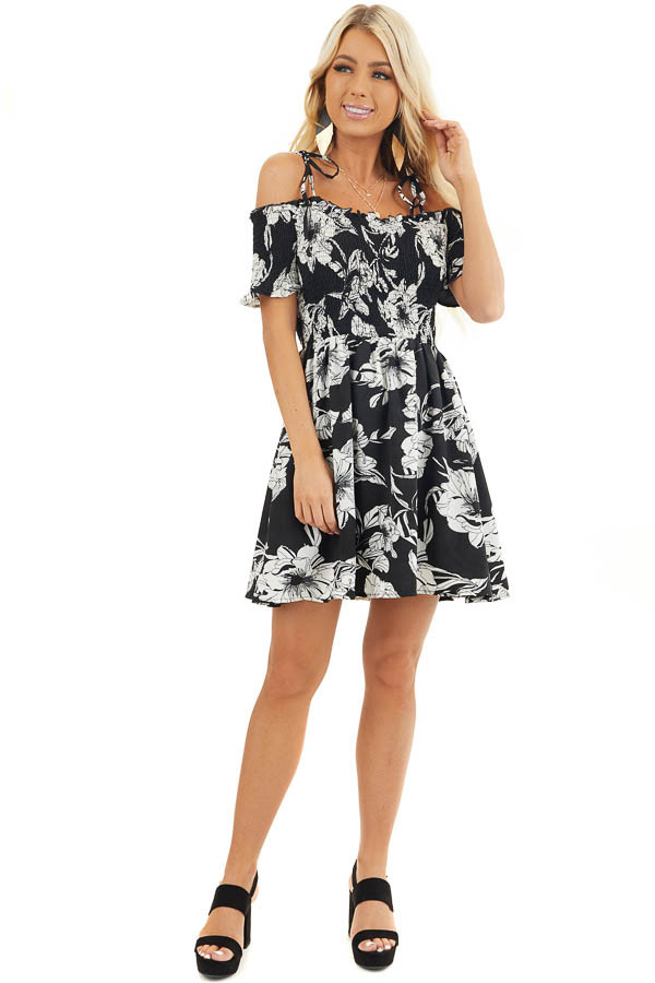 Black and White Floral Smocked Mini Dress with Strap Details front full body