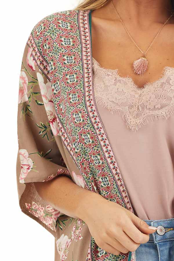 Latte and Pale Pink Floral Print Kimono with Open Front detail
