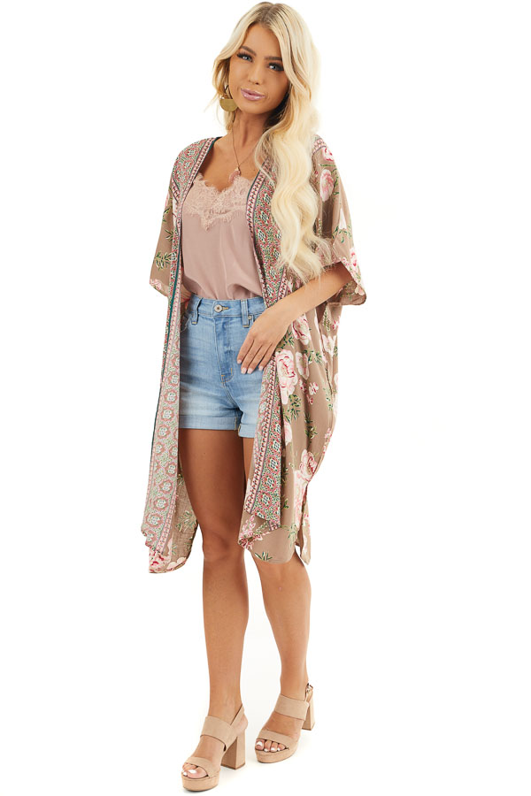 Latte and Pale Pink Floral Print Kimono with Open Front front full body