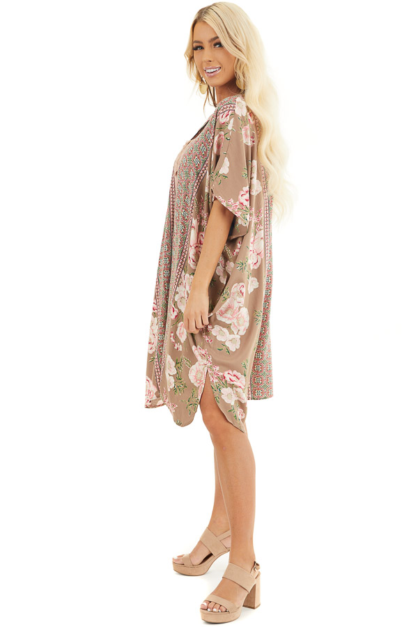 Latte and Pale Pink Floral Print Kimono with Open Front side full body
