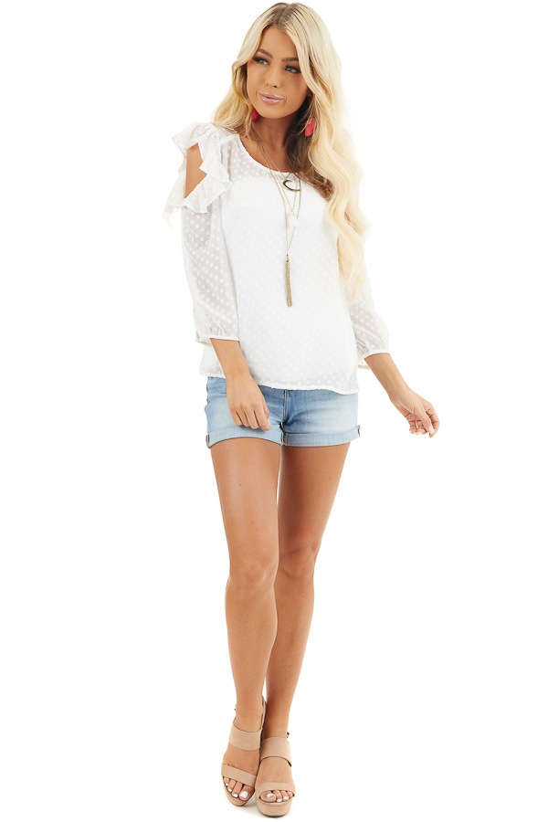 Ivory Swiss Dot Top with Ruffles and Cold Shoulder Detail front full body