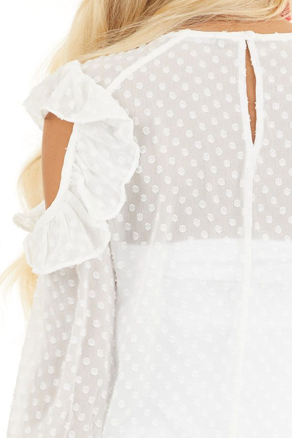Ivory Swiss Dot Top with Ruffles and Cold Shoulder Detail detail
