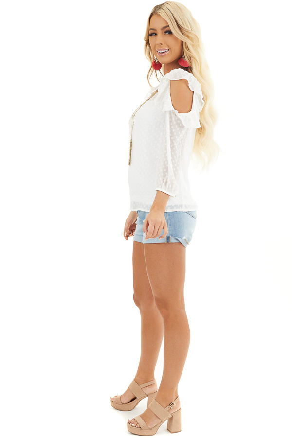 Ivory Swiss Dot Top with Ruffles and Cold Shoulder Detail side full body
