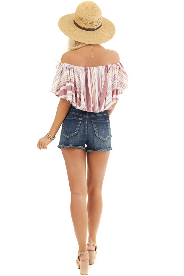 Marsala and Ivory Striped Button Up Off the Shoulder Top back full body