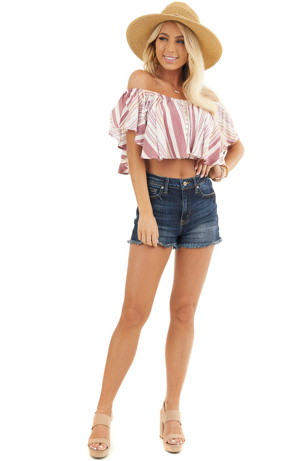 Marsala and Ivory Striped Button Up Off the Shoulder Top front full body