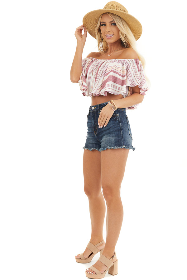 Marsala and Ivory Striped Button Up Off the Shoulder Top side full body