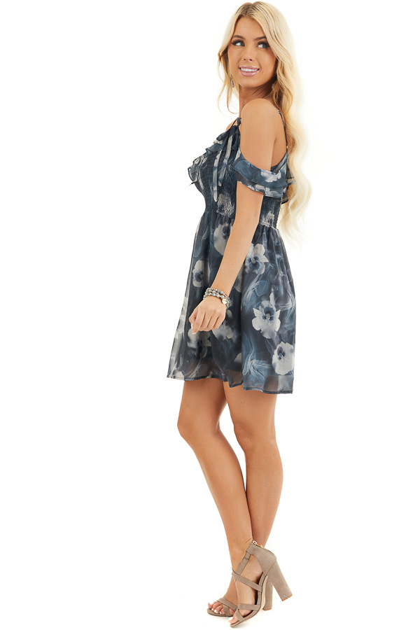 Charcoal Floral Print Cold Shoulder Dress with Smocked Bust side full body