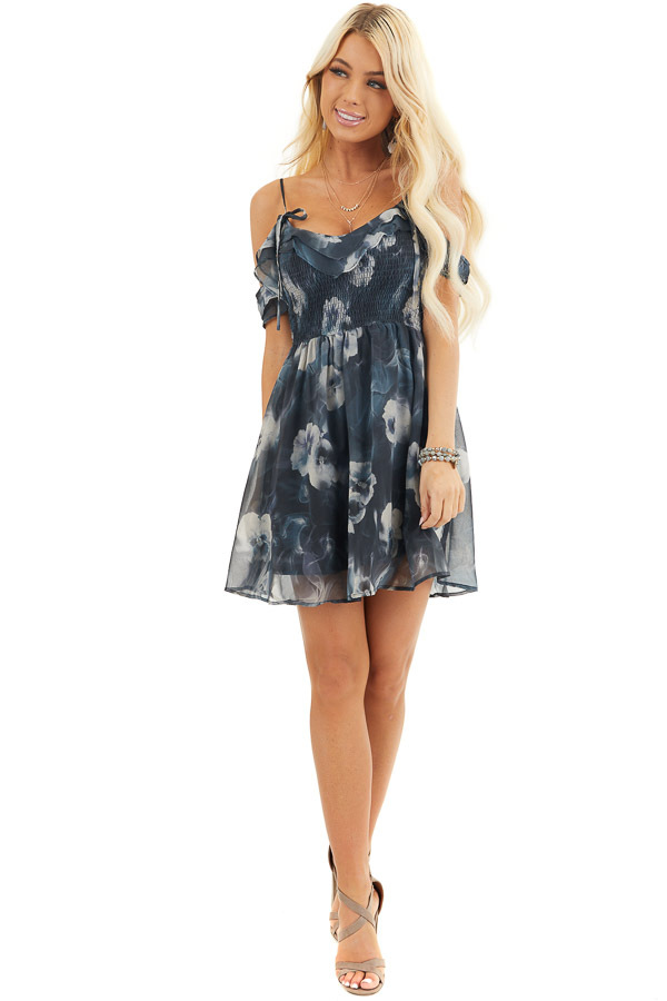 Charcoal Floral Print Cold Shoulder Dress with Smocked Bust front full body