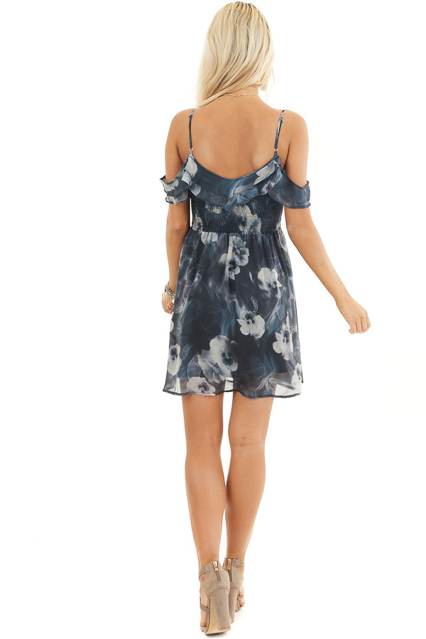 Charcoal Floral Print Cold Shoulder Dress with Smocked Bust back full body