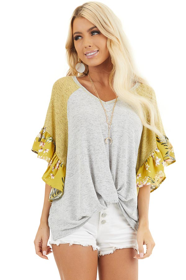 Heather Grey and Mustard Top with Floral Print Ruffles front close up