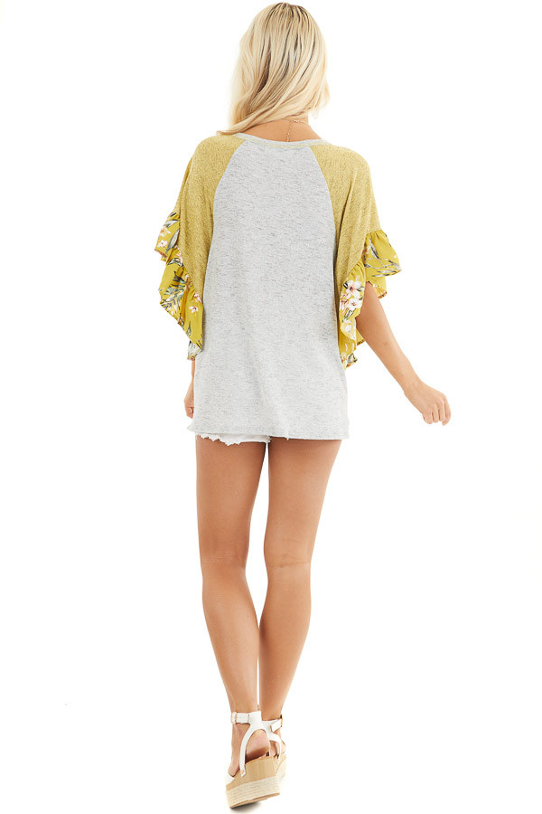 Heather Grey and Mustard Top with Floral Print Ruffles back full body