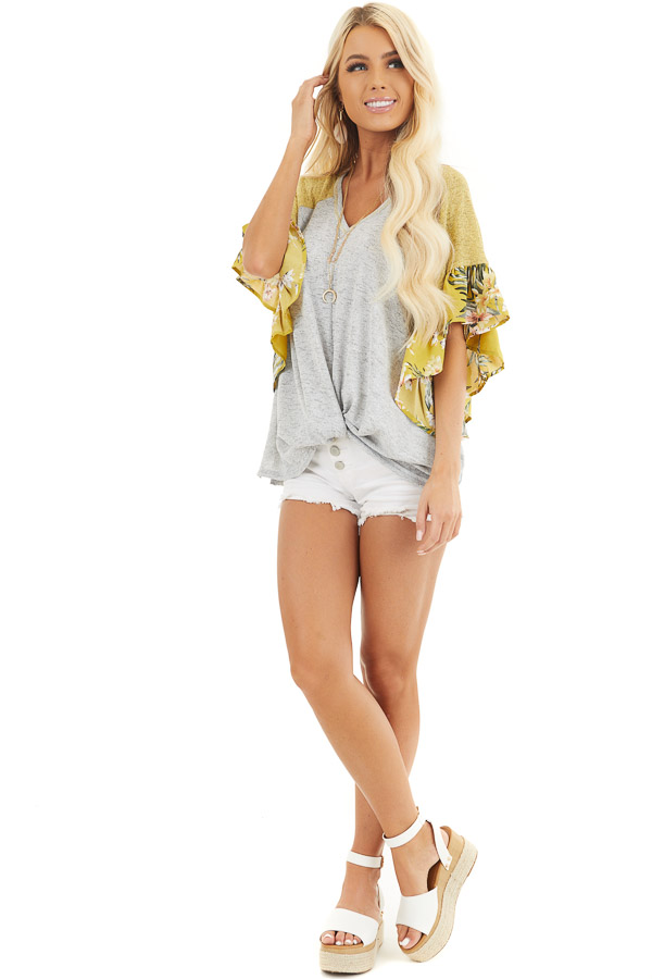 Heather Grey and Mustard Top with Floral Print Ruffles front full body