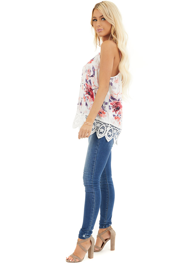 Ivory Floral Tank with Lace Hemline and Back Cage Detail side full body