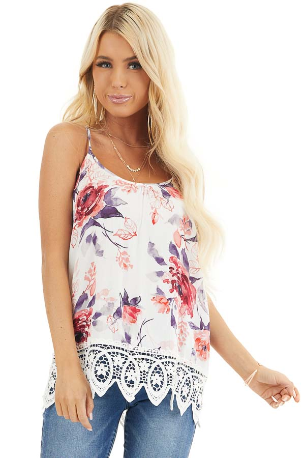 Ivory Floral Tank with Lace Hemline and Back Cage Detail front close up