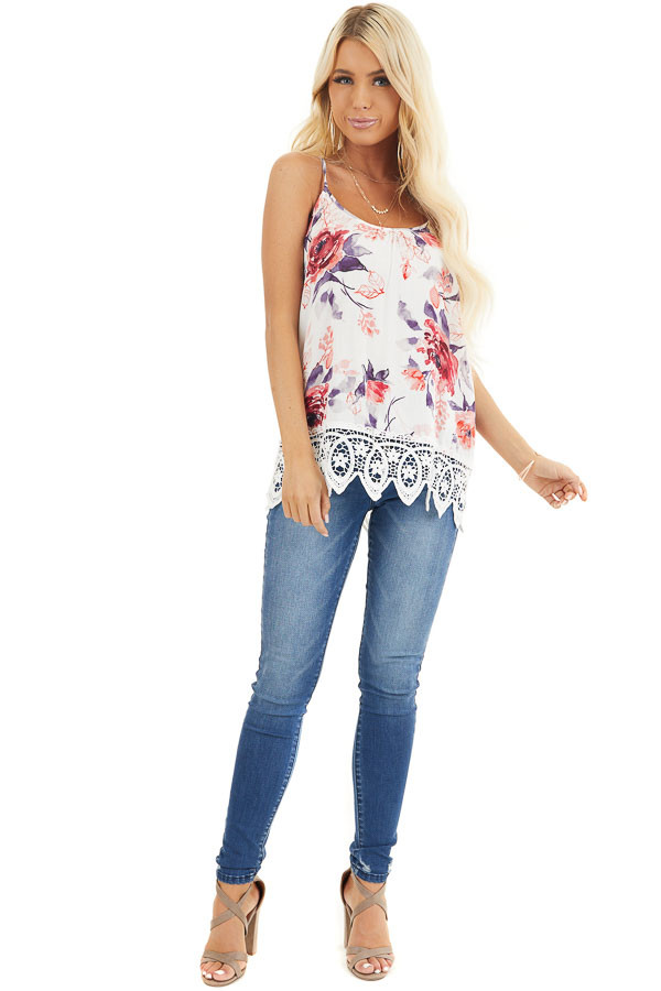 Ivory Floral Tank with Lace Hemline and Back Cage Detail front full body