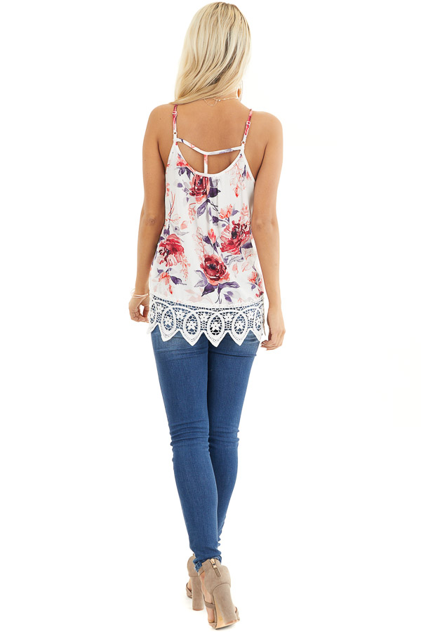 Ivory Floral Tank with Lace Hemline and Back Cage Detail back full body
