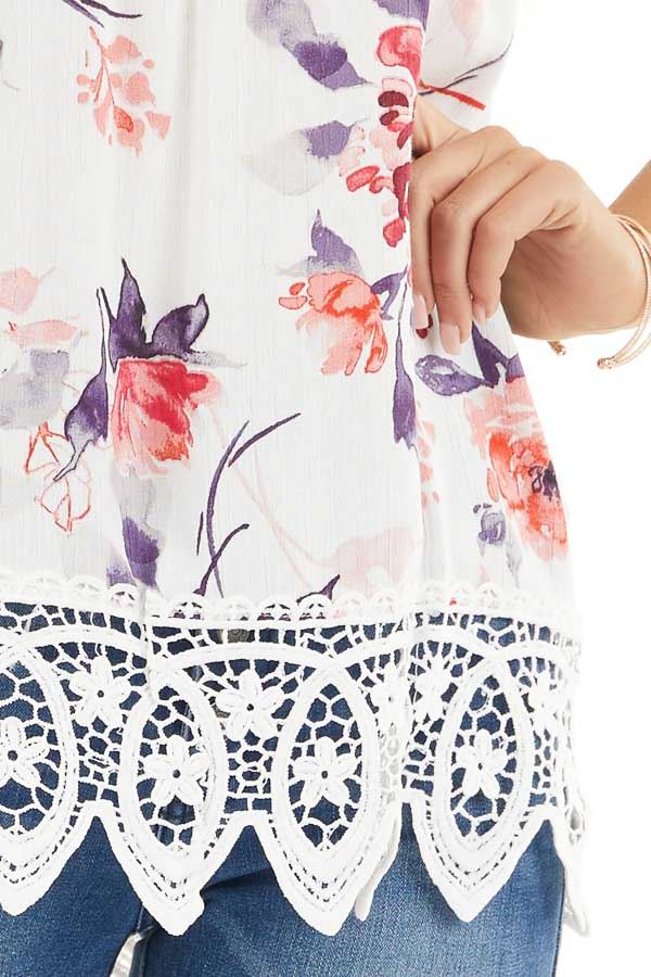 Ivory Floral Tank with Lace Hemline and Back Cage Detail detail