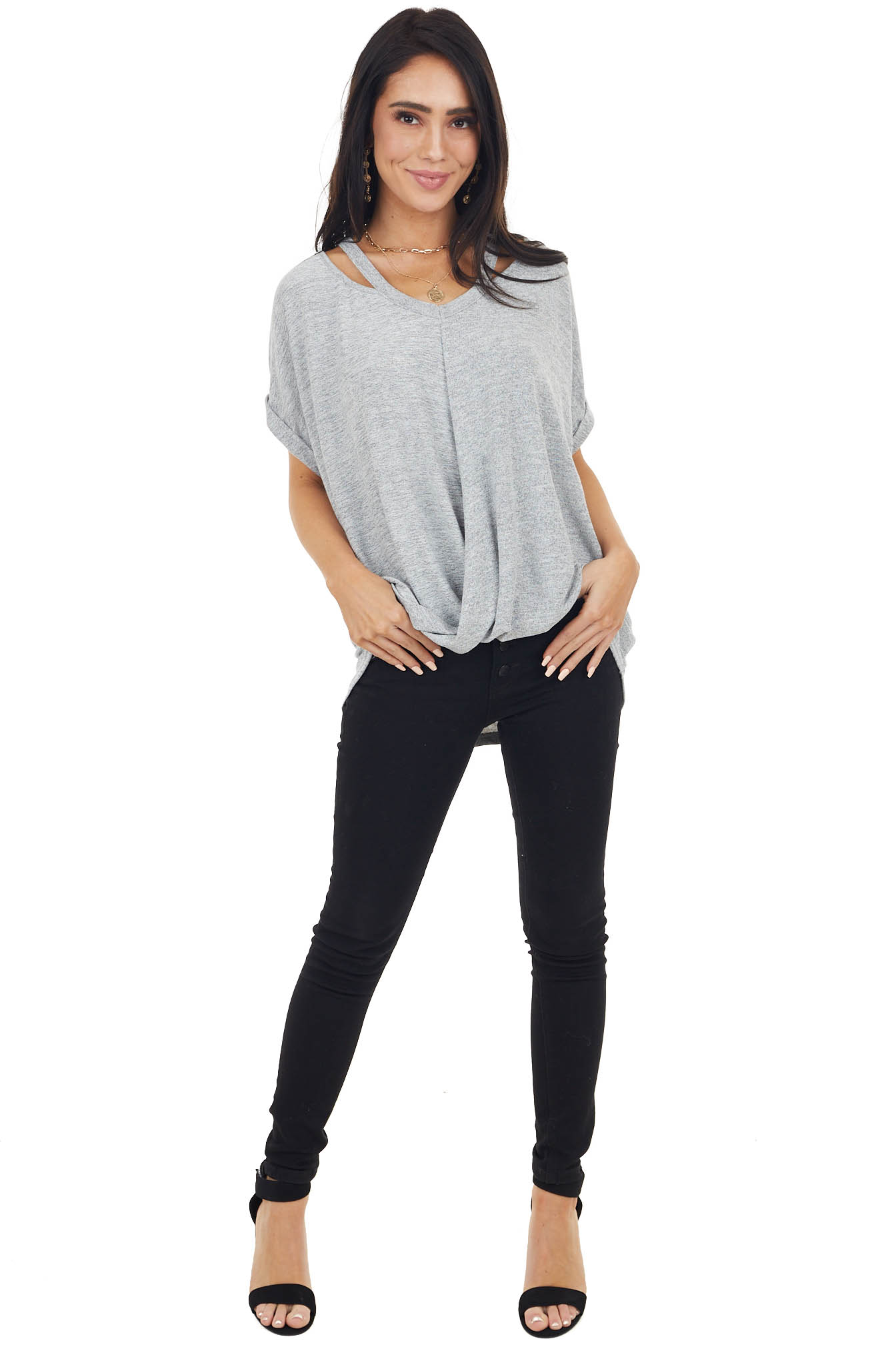 Dove Grey Knit Top with Bubble Hemline and Cutout Detail