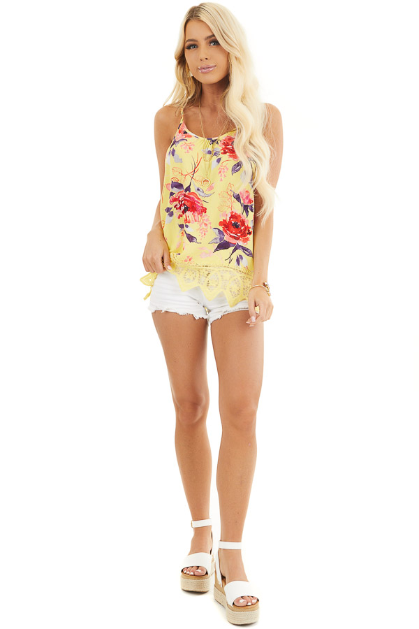 Lemon Floral Tank with Lace Hemline and Back Cage Detail front full body