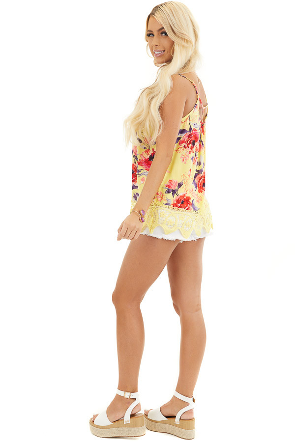 Lemon Floral Tank with Lace Hemline and Back Cage Detail side full body