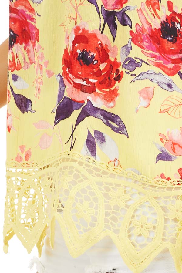 Lemon Floral Tank with Lace Hemline and Back Cage Detail detail