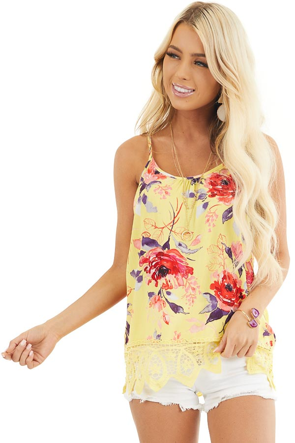 Lemon Floral Tank with Lace Hemline and Back Cage Detail front close up