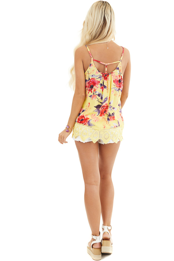 Lemon Floral Tank with Lace Hemline and Back Cage Detail back full body