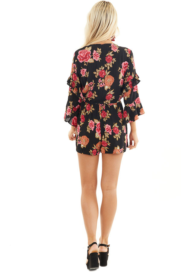 Black Floral Print Romper with Dual Ruffle 3/4 Sleeves back full body