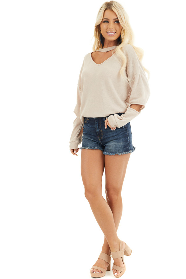 Beige Knit Top with Elbow Cutouts and Choker Detail front full body