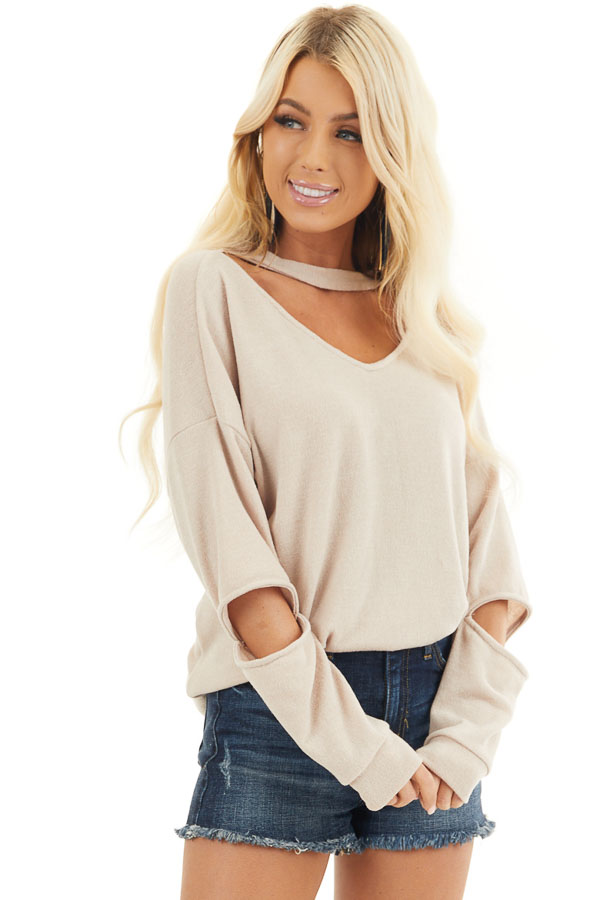 Beige Knit Top with Elbow Cutouts and Choker Detail front close up