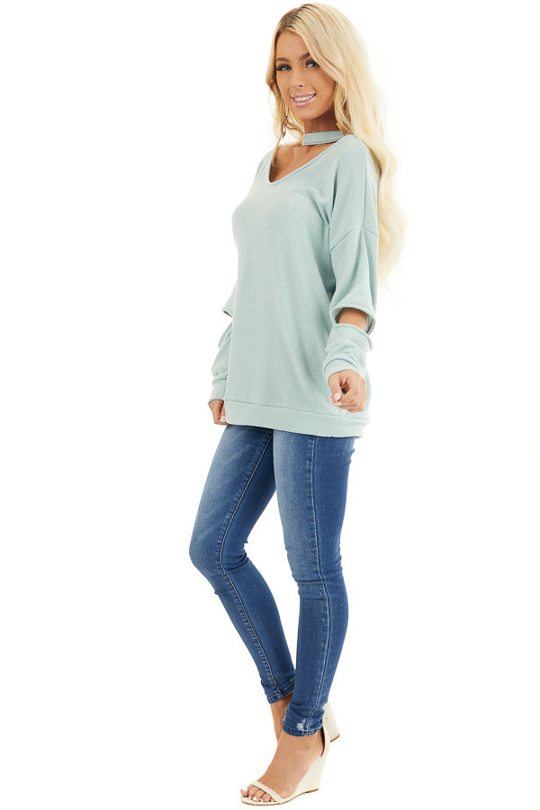 Mint Knit Top with Elbow Cutouts and Choker Detail side full body