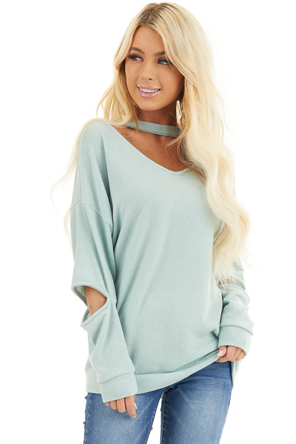 Mint Knit Top with Elbow Cutouts and Choker Detail front close up