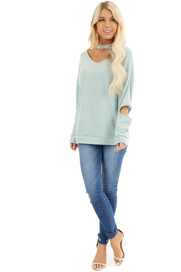 Mint Knit Top with Elbow Cutouts and Choker Detail front full body